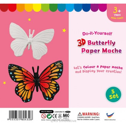 3D Animal Paper Mache - Pack of 5 - Butterfly