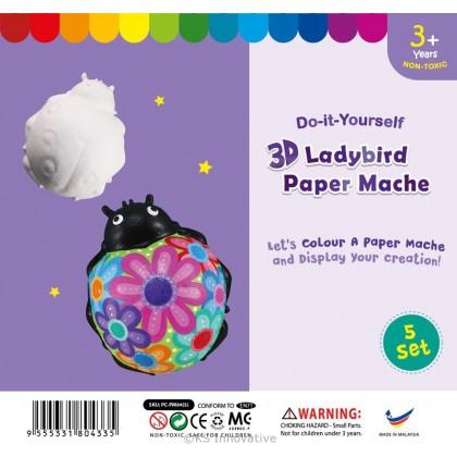 3D Animal Paper Mache - Pack of 5 - Ladybird