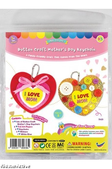 Mother's Day Buttons Heart Keychain Pack of 5